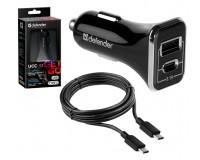 Автомобильное зарядное устройство Defender UCC-33 12/24В 1хUSB+1хTYPE C, Выходной ток: USB-2, 4А, TYPE С-3А, индикация включения, кабель Type-C, коробка черное