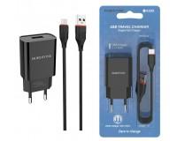 Зарядное устройство Borofone BA20A Sharp 2100 mA USB 1хUSB, выходной ток: USB-2, 1А, черный, кабель MicroUSB, блистер