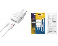 Зарядное устройство Borofone BA24A Vigour 2100 mA USB 2хUSB, 5 В, выходной ток: USB1-2, 1А, USB2-2, 1A, общий ток 2, 1А белый, кабель Iphone5, коробка