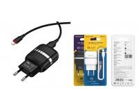 Зарядное устройство Borofone BA24A Vigour 2100 mA USB 2хUSB, 5 В, выходной ток: USB1-2, 1А, USB2-2, 1A, общий ток 2, 1А черный, кабель Iphone5, коробка