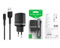 Зарядное устройство Borofone BA25A Outstanding 2400 mA USB 2хUSB, 5 В, выходной ток: USB1-2, 4А, USB2-2, 4A, общий ток 2, 4А черный, кабель Iphone5, коробка
