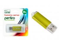Флэш диск 64 GB USB 2.0 Perfeo E01 economy series Gold с колпачком, металлический корпус