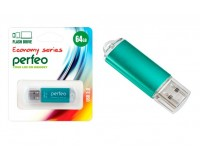 Флэш диск 64 GB USB 2.0 Perfeo E01 economy series Green с колпачком, металлический корпус