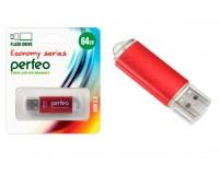 Флэш диск 64 GB USB 2.0 Perfeo E01 economy series Red с колпачком, металлический корпус