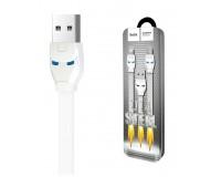 Набор переходников USB HOCO U14 Steel man на 2 устройства micro-USB, iPhone5, 1.3м, 2, 1А, индикатор заряда, плоский, коробка, белый
