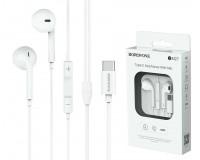 Наушники с микрофоном Borofone BM27 Amazing sound вкладыши, кабель 1, 2м, Type-C, регулятор громкости, коробка, белый