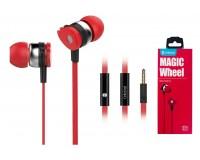 Наушники с микрофоном Celebrat D1 внутриканальные, кабель 1, 2м, кнопка ответа, красные коробка