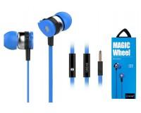 Наушники с микрофоном Celebrat D1 внутриканальные, кабель 1, 2м, кнопка ответа, синие коробка
