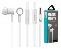 Наушники с микрофоном Celebrat D2 внутриканальные, кабель 1, 2м, кнопка ответа, белые коробка