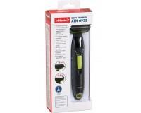 Триммер для удаления лишних волос Atlanta ATH-6952 на батарейках, селиконовый брелок, съемные насадки, защита от брызг зеленый