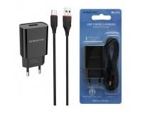 Зарядное устройство Borofone BA20A Sharp 2100 mA USB 1хUSB, выходной ток: USB-2, 1А, черный, кабель Type-C, блистер