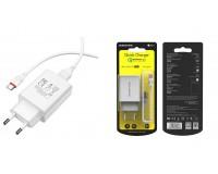 Зарядное устройство Borofone BA21A Long journey 3000 mA USB 1хUSB, выходной ток: USB-3А, белый, QC 3.0, кабель Type-C, блистер