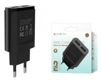 Зарядное устройство Borofone BA8A LePlug 2100 mA USB 2хUSB, 5 В, выходной ток: USB1-2, 1А, USB2-2, 1A, общий ток 2, 1А черный, коробка