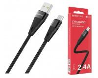 Кабель microUSB Borofone длина 1, 2м, USB2.0, 2, 4А, коробка, черный (BU10 Pineapple)