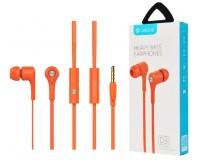 Наушники с микрофоном Celebrat D3 внутриканальные, кабель 1, 2м, кнопка ответа, оранжевые коробка