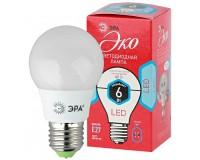 Лампа светодиодная Эра A55 6Вт 220-240В E27 4000K ECO, груша, пластик/металл, светоотдача 80 , аналог 40 Вт