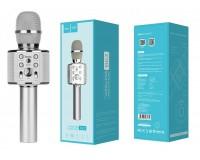 Микрофон HOCO BK3 Cool sound беспроводной, Bluetooth 4.2, аккумулятор 1800mAh, серебро