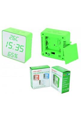 Часы сетевые VST 887Y-4 яркие зеленые цифры, зеркальный дисплей, температура, влажность, без блока питания