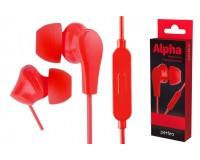 Наушники с микрофоном Perfeo ALPHA PF-A4935 внутриканальные, кабель 1, 2м , сменные насадки, коробка, красные