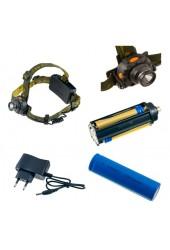 Фонарь налобный Perfeo PF-4601/LT-065-A 150LM 1 светодиод аккумулятор 18650( в комплекте) или 3*AAA( переходник в комплекте ), 5W, выносной блок питания, сенсорное управление, 3 режима