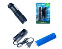 Фонарь Perfeo PF-4032/ LT-031-A 200LM 1 светодиод CREE Q5 аккумулятор 14500 (в комплекте) или 1 * АА Zoom, 3 режима, черный