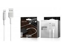 Кабель iPhone 5 Borofone длина 1м, ток до 2 А, коробка, белый (BX1 EzSync)