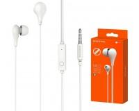 Наушники с микрофоном Borofone BM24 Milo вкладыши, кабель 1, 2м, коробка, белые