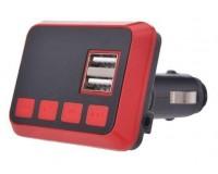 FM трансмиттер Allison ALS-861 12-24В, USB/microSD, автомобильный, Bluetooth, пульт, коробка, черно-красный