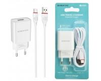 Зарядное устройство Borofone BA20A Sharp 2100 mA USB 1хUSB, выходной ток: USB-2, 1А, белый, кабель Type-C, блистер