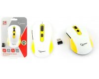 Мышь беспроводная Gembird MUSW-221-Y USB Optical (800/1200/1600 dpi) белый/желтый 5 кнопок+кнопка-колесо блистер