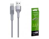 Кабель Type-C Borofone длина 1м, USB2.0, 3А, коробка, серый (BX21 Outstanding)