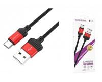 Кабель Type-C Borofone длина 1м, USB2.0, 2А, коробка, красный (BX28 Dignity)