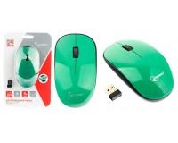 Мышь беспроводная Gembird MUSW-111-GRN USB Optical (1200 dpi) черный/зеленый 2 кнопки+кнопка-колесо, с трёхуровневой системой энергосбережения, размер 113х64х30 мм. блистер