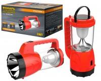Фонарь-прожектор Спутник AFC873-3W 1х3Вт+12 (6Вт) светодиодиодов, аккумулятор 1500mAh 4V красный/чёрный