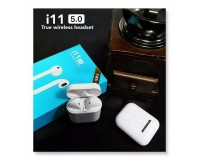 Наушники беспроводные - i11 TWS вкладыши, Bluetooth, беспроводные, пенал для зарядки, аккумулятор 30 мАч белый