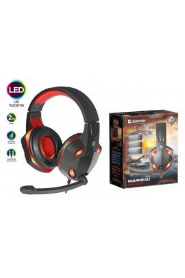 Наушники с микрофоном Defender G-370 Warhead полноразмерные, кабель 2м, игровые, регулятор громкости, 2х3, 5мм Jack, динамики 40 мм, подсветка черный/красный коробка