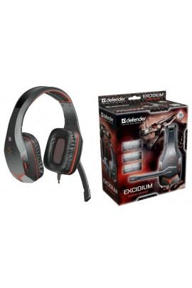 Наушники с микрофоном Defender Excidium 64540 полноразмерные, кабель 2м, игровые, регулятор громкости, 2х3, 5мм Jack, динамики 50 мм, черный/красный коробка