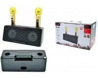 Акустическая система mini MP3 - SD-302 Караоке система 20Вт 2 микрофона Bluetooth, MP3, FM, microSD, USB, AUX 3.5mm, встроенный аккумулятор 3.7V/1800mA-колонка, 1500-микрофоны. размер 29 х 14, 5 х 12 см, черно-золотой