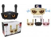Акустическая система mini MP3 - SD-306 Караоке система 20Вт 2 микрофона Bluetooth, MP3, FM, microSD, USB, AUX 3.5mm, встроенный аккумулятор 3.7V/1800mA-колонка, 1500-микрофоны. размер 29 х 14, 5 х 14, 5 см, золотой или черный или розовый