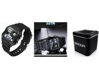 Часы наручные Sanda 418 электронные (дата, будильник, секундомер), пластик, подсветка