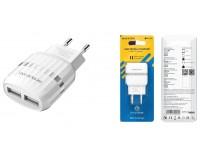 Зарядное устройство Borofone BA24A Vigour 2100 mA USB 2хUSB, 5 В, выходной ток: USB1-2, 1А, USB2-2, 1A, общий ток 2, 1А белый, коробка