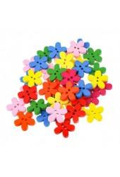 Пуговицы декоративные Белоснежка 891-DB Цветы в комплекте: 40 шт. размер 1, 5 см. материал: дерево, цвет: цветные