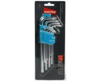 Набор ключей TORX c отверстием длинных Smartbuy Tools SBT-TSL-9 9 шт. (10, 15, 20, 25, 27, 30, 40, 50) с шаром на конце, блистер