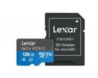 Флэш карта microSDXC 128 GB Lexar Class 10 667x UHS-I (U3), V30, до 100 МБ/с чтения, до 90 МБ/с записи, с адаптером