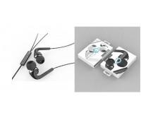 Наушники с микрофоном EZRA EP06 внутриканальные, кабель 1, 2м, регулятор громкости, коробка, черный