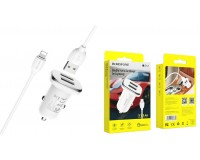 Автомобильное зарядное устройство Borofone BZ12 Lasting power + кабель Iphone5 12/24В 2хUSB, Выходной ток: USB1-2, 4A, USB2-2, 4A, максимальный 2, 4 А коробка белое