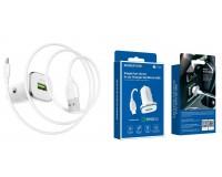 Автомобильное зарядное устройство Borofone BZ12A Lasting power + кабель MicroUSB 12/24В 1хUSB, Выходной ток: USB1-3, 0A, QC 3.0, коробка белое
