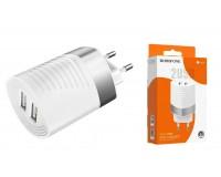 Зарядное устройство Borofone BA26A Mighty 2400 mA USB 2хUSB, 5 В, выходной ток: USB1-2, 4А, USB2-2, 4A, общий ток 2, 4А белый, коробка