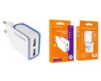 Зарядное устройство Borofone BA35 Brilliant 2100 mA USB 2хUSB, 5 В, выходной ток: USB1-2, 1А, USB2-2, 1A, общий ток 2, 1А белый, коробка