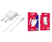 Зарядное устройство Borofone BA35A Brilliant 2100 mA USB 2хUSB, 5 В, выходной ток: USB1-2, 1А, USB2-2, 1A, общий ток 2, 1А белый, кабель Iphone5, коробка
